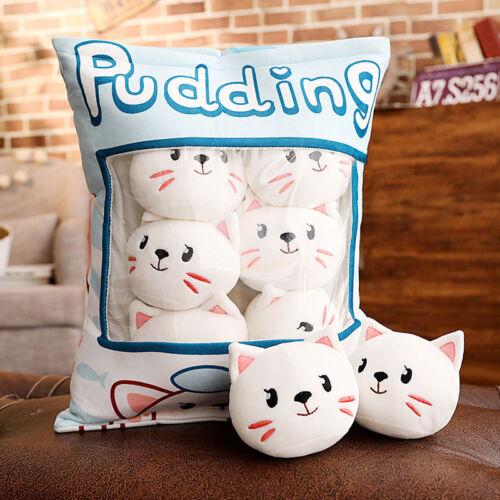 plush toy cartoon one bag pudding cat kitten pig piggy stuffed cushion pillow