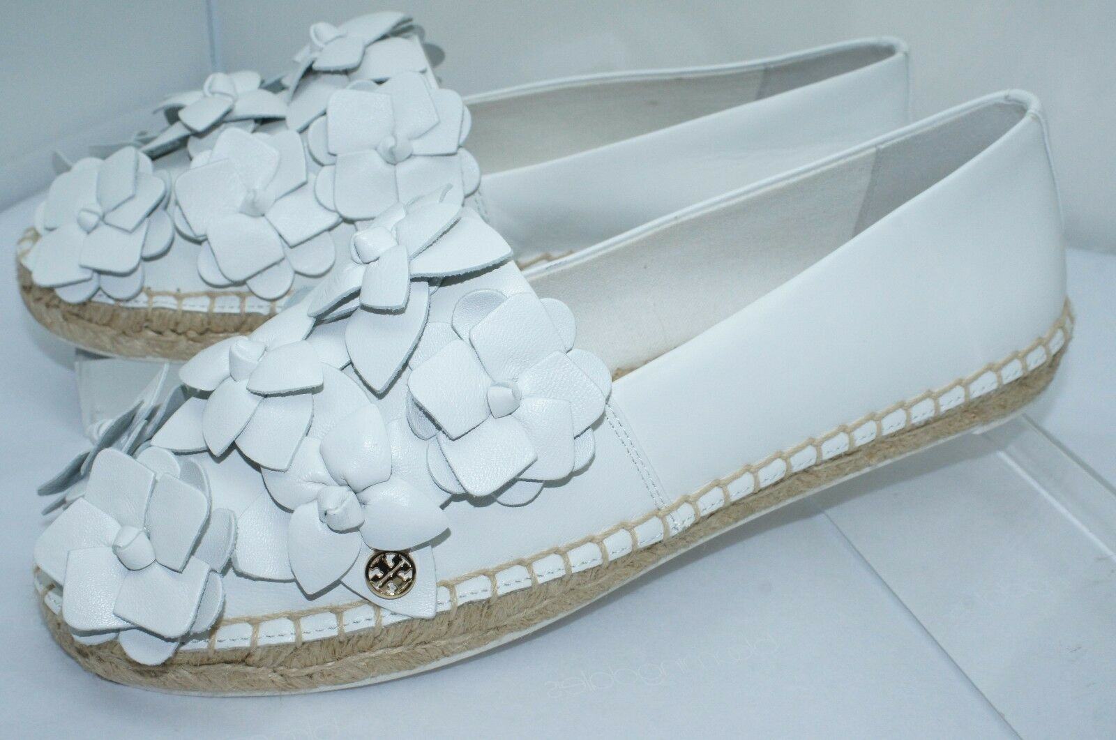 60523be14fe Tory Burch Blossom Espadrille White Shoes Size 8 Flat Leather Slip ...