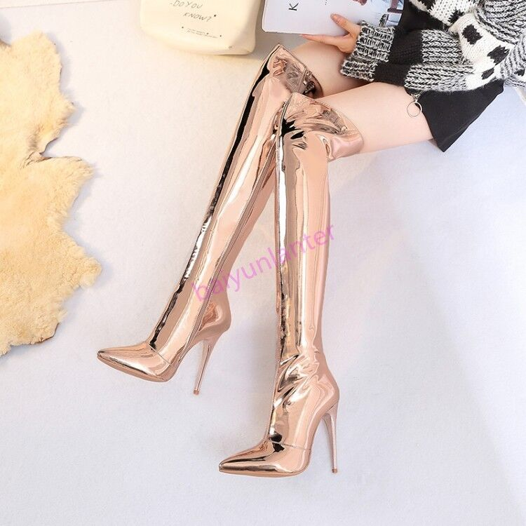 2018 Lady Stiletto High Heel Over The The The Knee High Boots Pointy Toe shoes Zipper sz 38ac1c