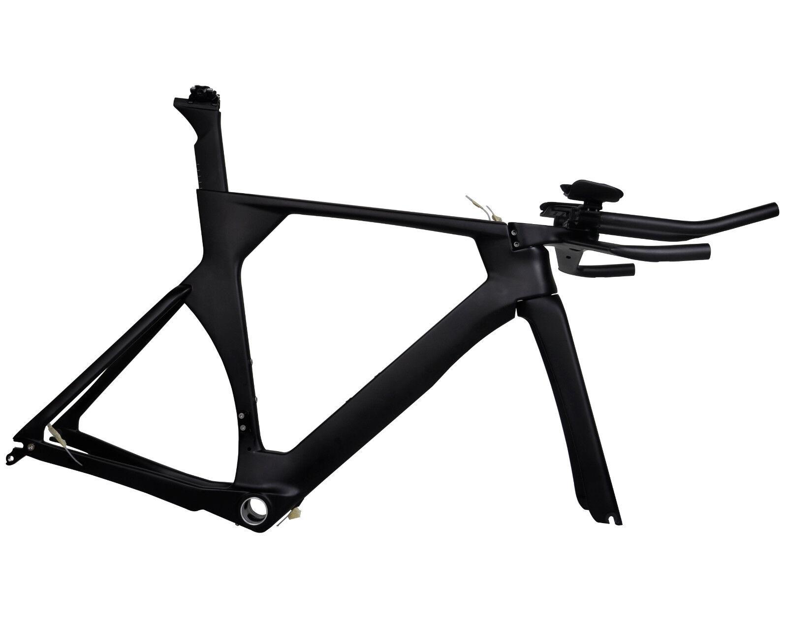 56cm Carbon Time Trial Bike Frame Fork Handlebar UD Matt Triathlon TT BSA PF30