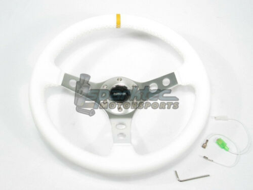 "NRG 350mm Sport Leather Steering Wheel 2/"" Deep White w//Yellow Mark /& 3 Spoke Ctr"