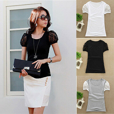 Fashion Summer Women Casual Lace Short Sleeve Ladies T-Shirt Blouse Tops New