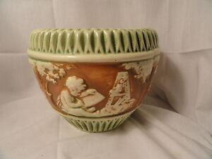 Vintage-Roseville-Pottery-Donatello-Jardiniere-6-5-034-tall-EUC