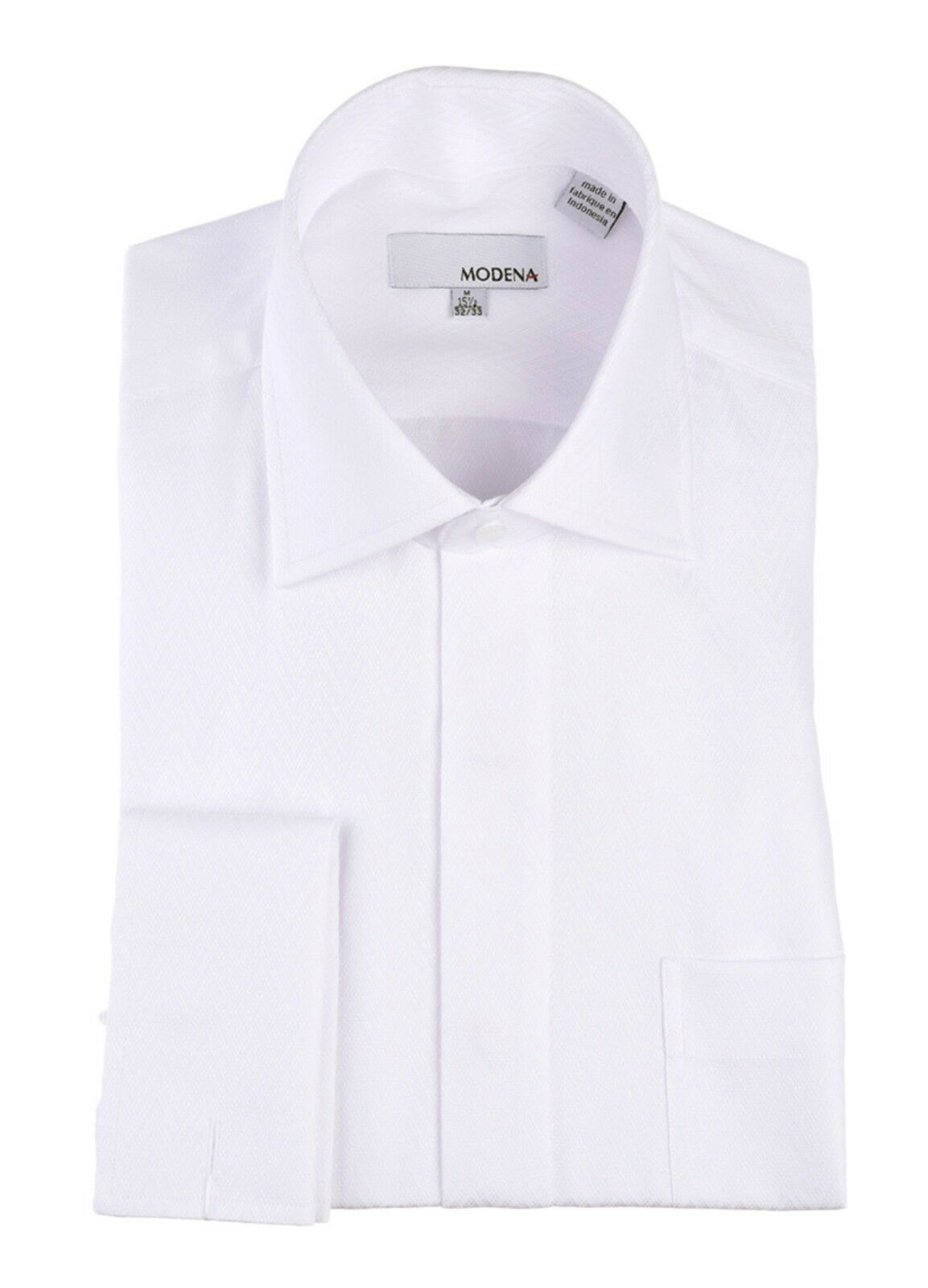 Boutique Label Classic Fit White Cotton Blend French Cuff Dress Shirt 22 36 37