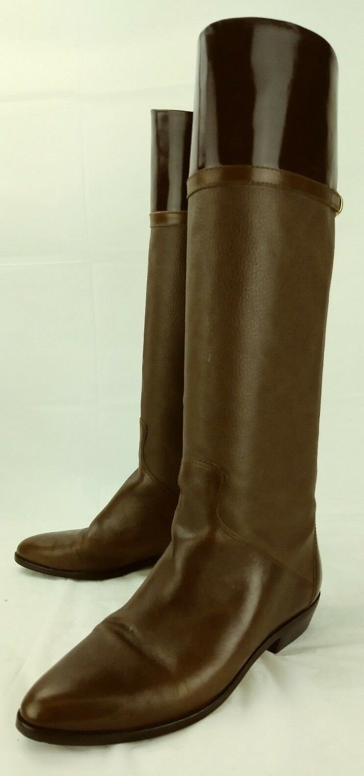 Etienne Aigner Wos Boots SAMPLE 7954 US 6 B Brown Leather Pull on Riding 2331