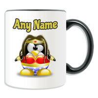 Personalised Gift Wonder Woman Mug Money Box Cup Funny Novelty Penguin Cartoon