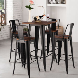 Fine Details About Matte Black Tall Industrial Wood Top Bar Stools Table Home Cafe Bistro Chair Set Machost Co Dining Chair Design Ideas Machostcouk
