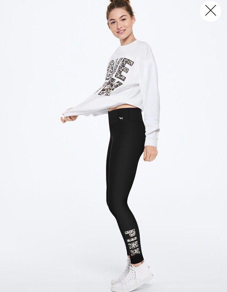 Victoria's Secret Rose Léopard Guépard Sequin Bling Legging L grand Neuf Rare