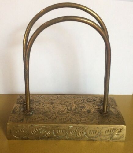 Vintage Sarna Brass India Letter Holder Mail Organizer desk accessory