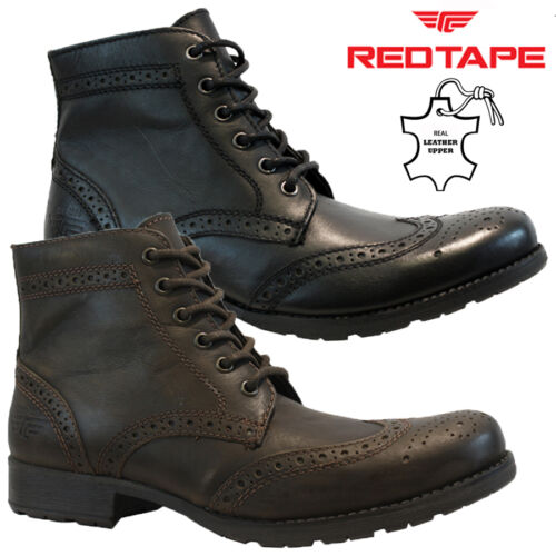 MENS RED TAPE LEATHER ANKLE COMBAT COWBOY MILITARY ARMY BIKER BOOTS SHOES SIZE