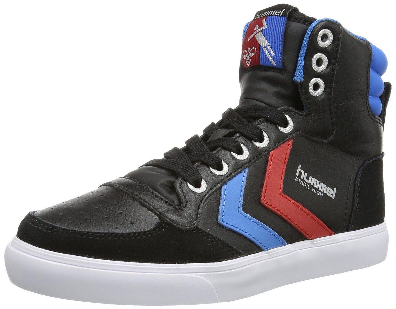 Hummel Slimmer Stadil Black Blue Red Leather Mens Hi Trainers Shoes Boots