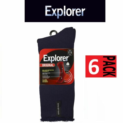 6 Pairs x Explorer Original Navy Blue Denim COTTON Blend Outdoor Hiking Socks