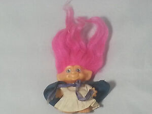 """VINTAGE 1960s Dam Scandia 2.5"""" Troll Doll Pink Hair Blue Eyes Cotton Outfit"""