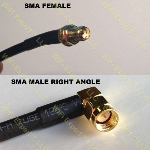 RG58 10-30/' SMA FEMALE BULKHEAD to SMA MALE RIGHT ANGLE RF Pigtail Cable USA