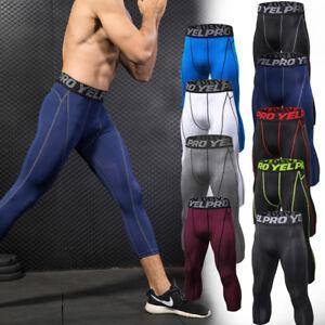 a9074c1dca82a7 Men's Compression 3/4 Capri Shorts Baselayer Cool Dry Sports Tights ...