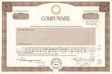 Compuware Michigan old stock certificate share
