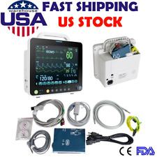 12 Medical Icu Portable Patient Monitor Vital Signs Spo2 Pr Nibp Ecg Temp Resp
