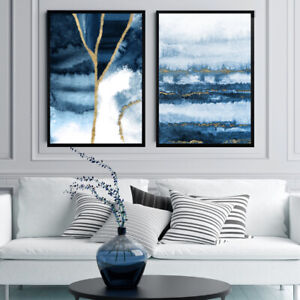 Navy Blue Gold Abstract Wall Art Set Watercolour Painting Print Geode Decor