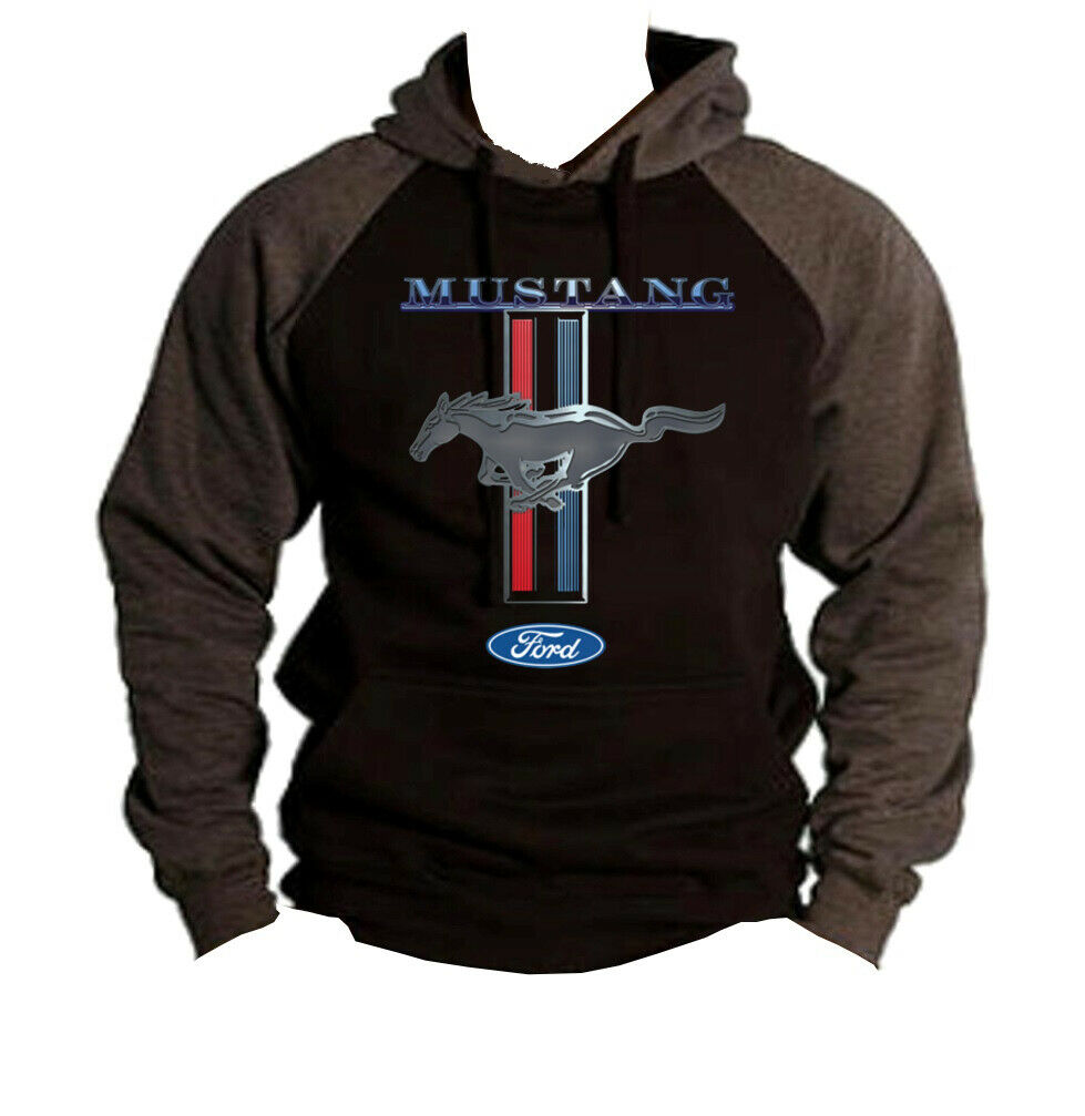 New Men's Ford Mustang Charcoal Raglan Hoodie GT350 500 Shelby Cobra Muscle car