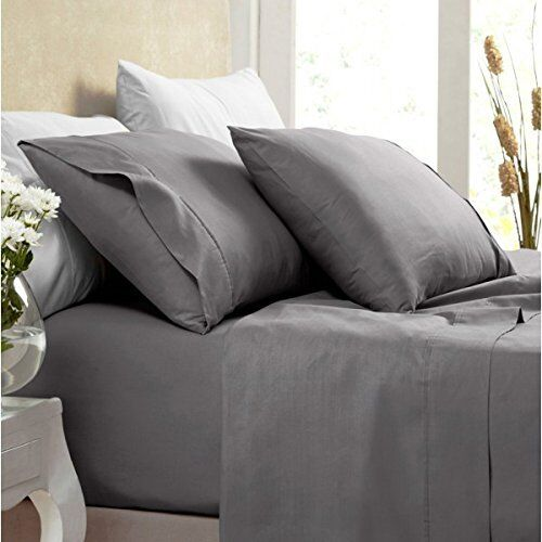 1000 Thread Count Silky BAMBOO COTTON Hybrid Blend Sheet Set TWIN XL CHARCOAL