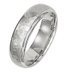 Image Is Loading 14k White Gold Mens Wedding Band Ring Hammered