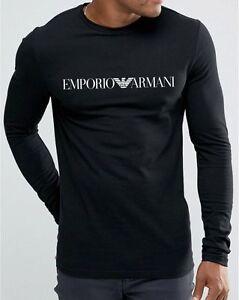 Emporio-Armani-Homme-Longues-Manches-T-shirt-noir-taille-M-L-XL-NEUF