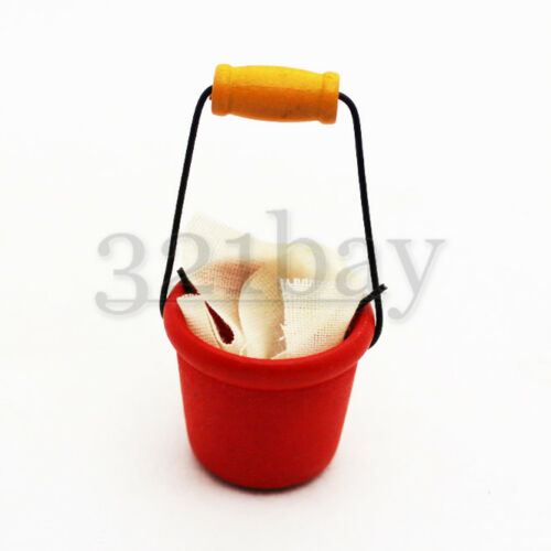 Miniature Bucket Mini Wash Tub with Cloth Red Laundry Room Dollhouse 12th Scale