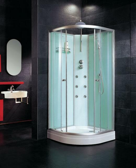 700mm Quad Corner Shower Cabin With Mixer Jets Waste Walls Tray Base ...