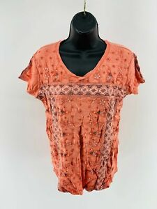 Style & Co. Women's Top Shirt Floral Tee Short Sleeve Scoop Neck Size Small