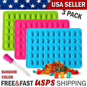 3PCS Gummy Bear Mold Candy Making Supplies Chocolate Ice Maker Silicone Molds US
