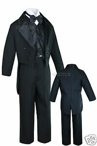 K8 INFANT TODDLER & BOY WEDDING PARTY FORMAL TAIL TUXEDO BLACK S M L XL 2T 3T-20