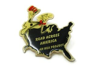 Read Across America an NEA Project Dr Seuss Cat in Hat Vintage Collectible Pin