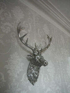 Large Silver Stags Head Deer Wall Mounted Stunning Free