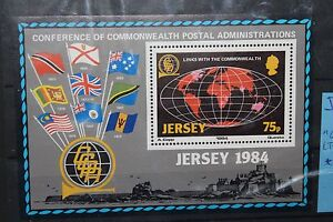 FRANCOBOLLI-STAMPS-JERSEY-1984-034-COMMONWEALTH-DAY-BANDIERE-034-MNH-BLOCK-CAT-J