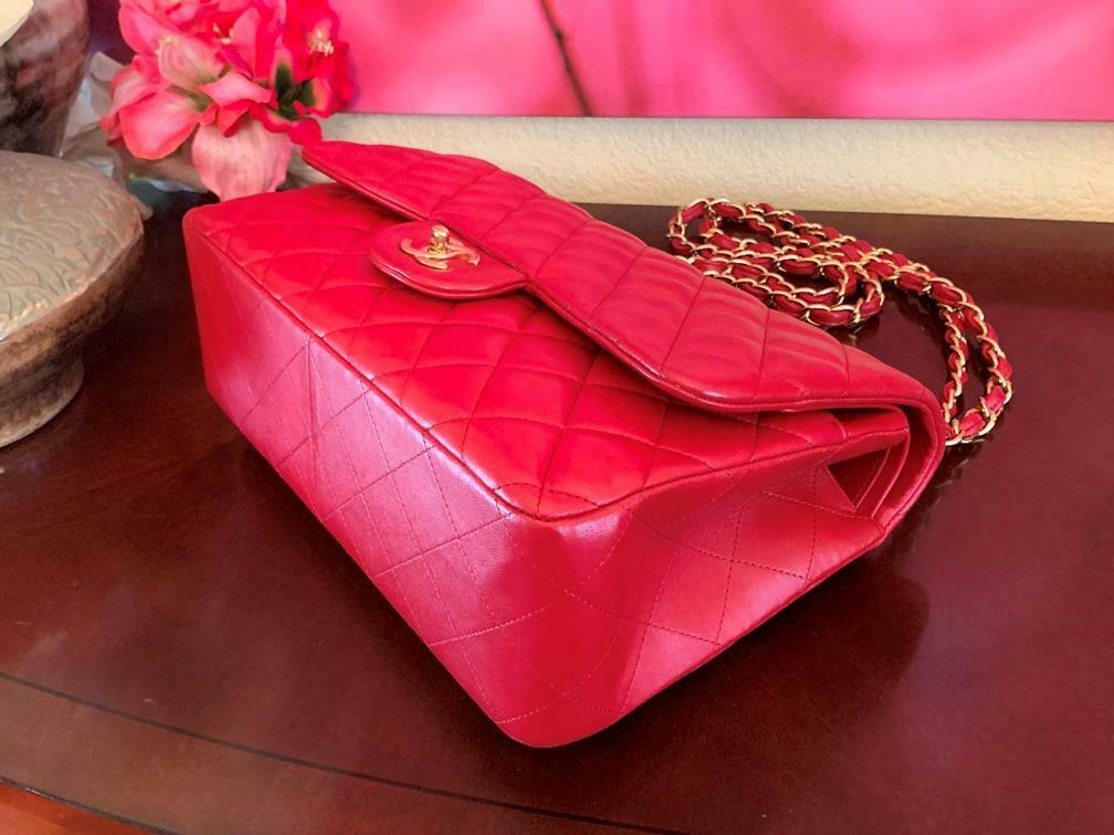 Authentic Chanel Classic Jumbo Red Lambskin Doubl… - image 6