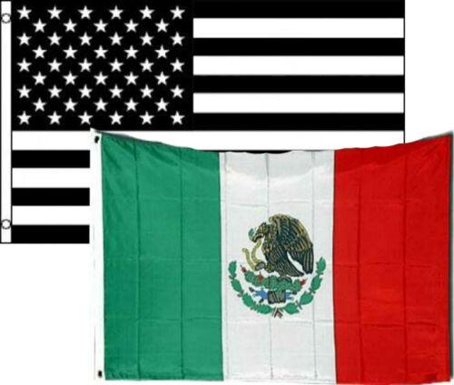 3x5 3/'x5/' Wholesale Combo Black White USA /& Mexico 2 Flags Flag