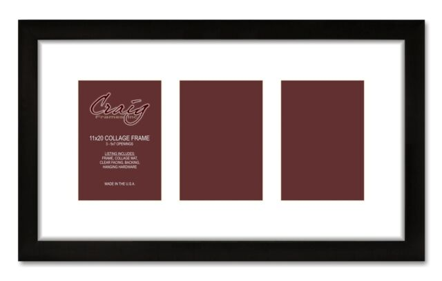 Craig Frames 11x20 Black Picture Frame With 3 5x7 Openings White