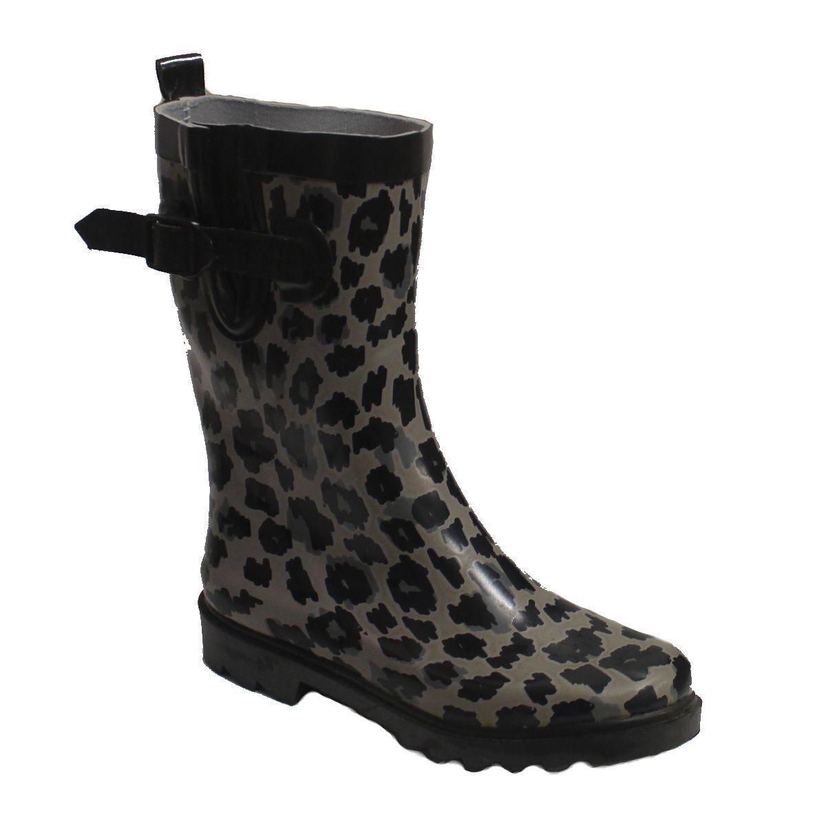 Capelli New York Women's Leopard Rain Boot Black/Grey US 10 NOB NWD