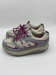 Sketchers-Shape-Ups-11814-Womens-Walking-Toning-Shoes-Gray-White-Size-8-Pink