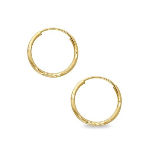Round Endless Hoops Diamond Cut Earrings 14k Yellow Gold Satin Finish Polished