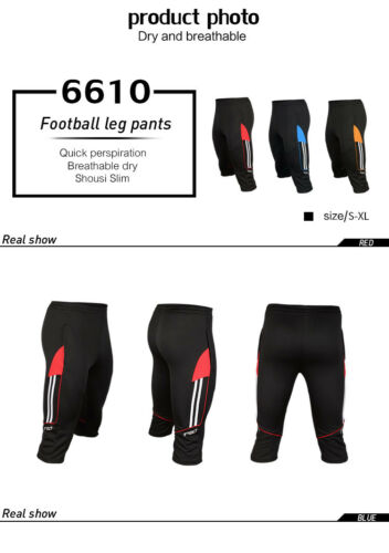 2019 Men Soccer Football Athletic Training Track 3//4 3-Quater Pants Trousers NEW