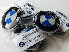 (4x) BMW Blue White Carbon Fiber Center Caps 68mm Fits: ALL 1988-2015 Models