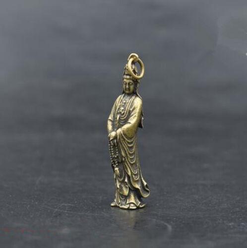 Chinese pure brass Guanyin bodhisattva small pendant #2