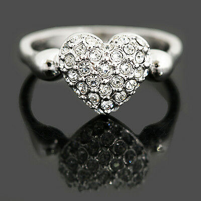White Gold Plate Bridal Engagement Heart Ring Made With Swarovski Crystal SR13