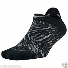 NIKE No Show Tab Dri-FIT Running Socks sz M Medium (6-10) Black Light Grey Elite