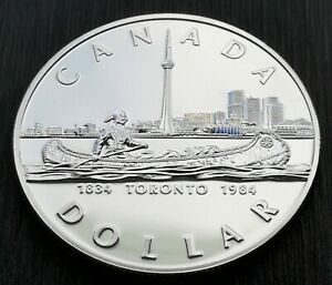 CANADA-1984-SILVER-DOLLAR-1884-1984-TORONTO-CENTENNIAL