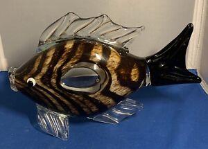 Vintage-Hand-Blown-Art-Glass-Fish-Figurine-Sculpture-brown-Clear-10-5
