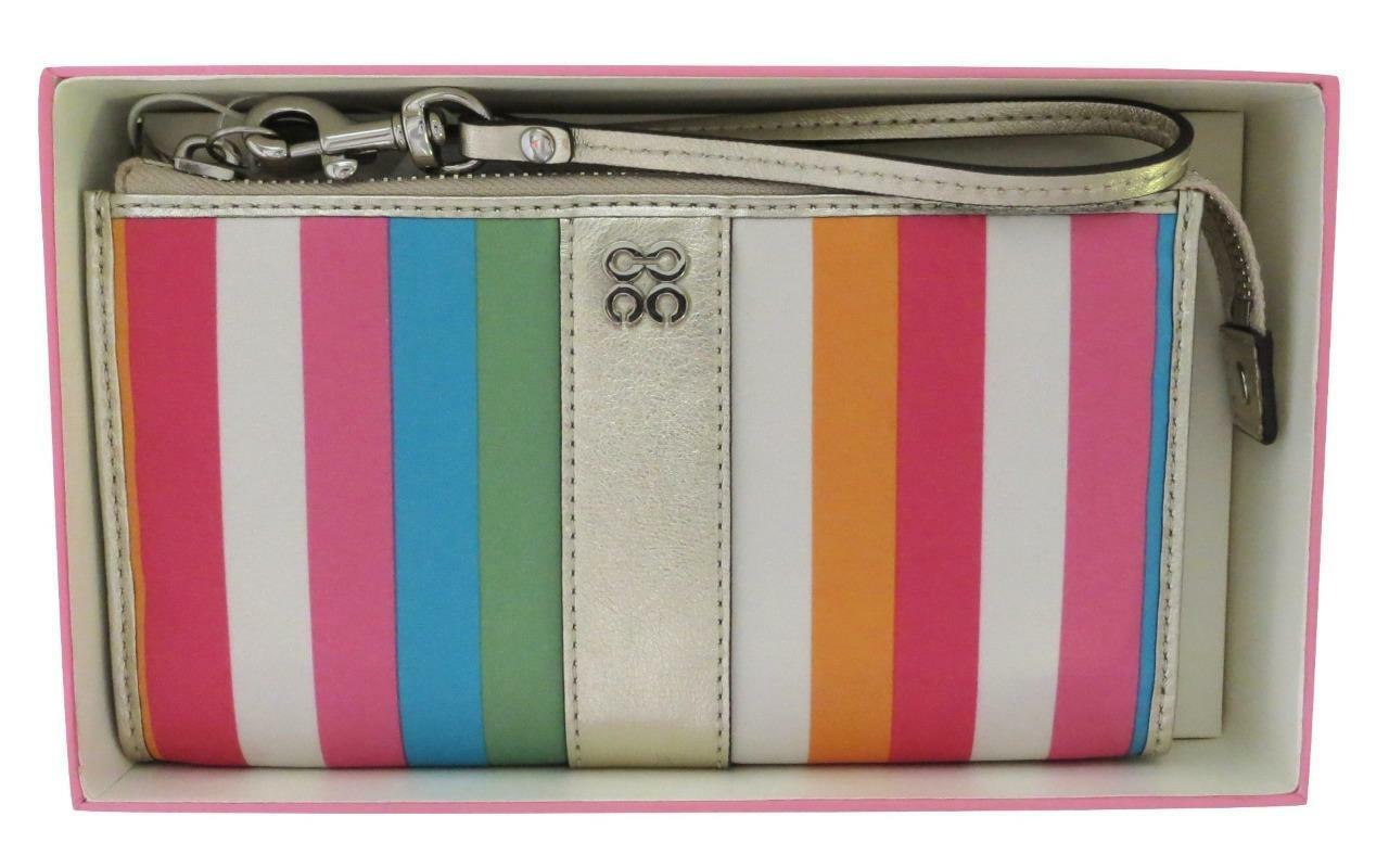 New Gift Boxed Coach Julia Multicolor Legacy Striped Zip Wallet Wristlet 46807B