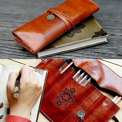 New Vintage Style PU Leather Pencil Pen Case Cosmetic Makeup Bag Pouch Pockets