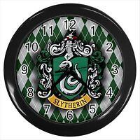 NEW* HARRY POTTER SLYTHERIN HOGWARTS SCHOOL Round Black Wall Clock Decor Gift